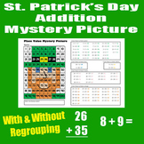 Leprechaun Math Mystery Addition Picture With & Without Re