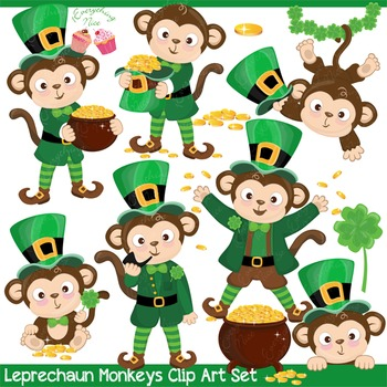 Leprechaun Monkeys Monkey Saint Patrick's Day Saint Patty Irish Day Clipart Set