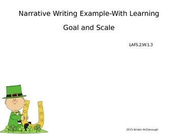 Leprechaun Narrative Writing Sample with Learning Goal and Scale