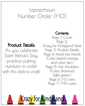 Leprechaun  Number Order (1-10) Craft for Kindergarten (March, Saint Patrick's)