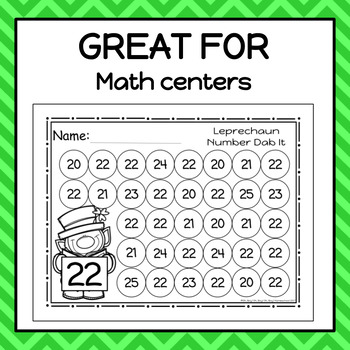 Leprechaun Numbers 0-25 Dab It Worksheets - S