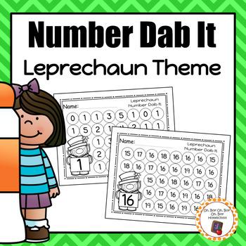 Leprechaun Numbers 0-25 Dab It Worksheets - S