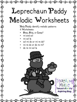 Leprechaun Paddy Melodic Worksheets