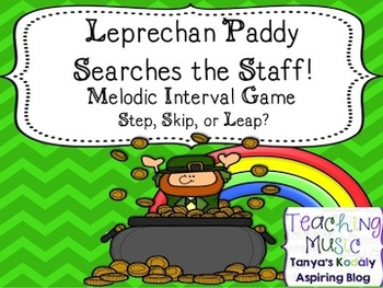 Leprechaun Paddy Searches the Staff! Melodic Interval Game: Step, Skip or Leap?