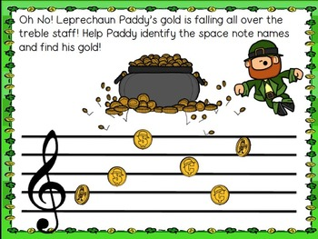 Leprechaun Paddy Searches the Staff! Treble Staff Note Naming Game