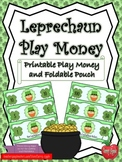 St. Patrick's Day Play Money and Foldable Pouch - Leprechaun Play Money