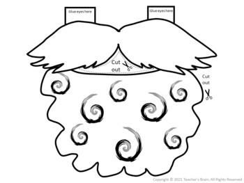 St. Patrick's Day Craft Kindergarten Leprechaun Printable Hat, Mustache, Beard