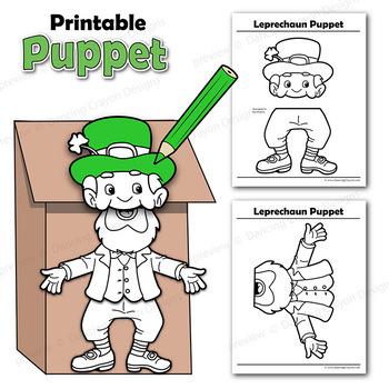 Leprechaun Puppet St Patricks Day Craft By Dancing Crayon Designs
