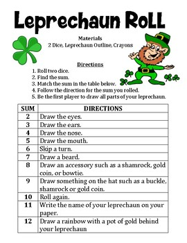Leprechaun Roll - A St. Patrick's Day Math Activity to Practice Adding 2 Numbers