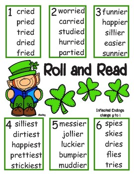 Leprechaun Roll and Read - Inflected endings with Spelling Change