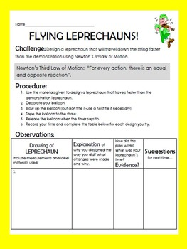 St. Patrick's Day Leprechaun Science Inquiry force experiment- balloon rockets
