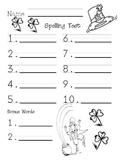 Leprechaun Spelling Test Paper