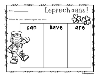 """Freebie: Leprechaun - St. Patrick's Day: """"Can - Have - Are"""" Chart"""