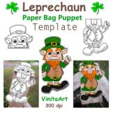 Leprechaun St. Patrick's Day Paper Bag Puppet Template