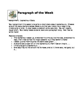 """Leprechaun Story"" Paragraph of the Week"
