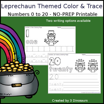 Leprechaun Themed Number Color and Trace