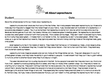 Leprechaun Themed Readers' Theater, Writing Prompt, Math Activity