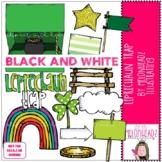 Leprechaun Trap clip art - BLACK AND WHITE - by Melonheadz