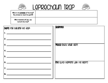 Leprechaun Trap creative writing (organizers and rubric)