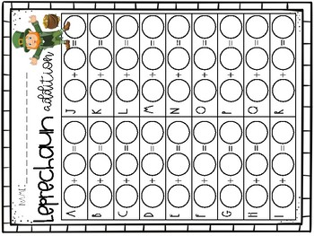 Leprechaun addition write-the-room