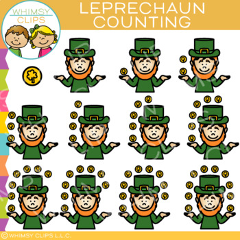 Leprechaun and Coin Counting Clip Art