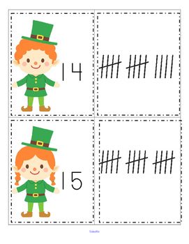 St. Patrick's Day Leprechaun Numbers and Tally Marks Center and Printables 0-20