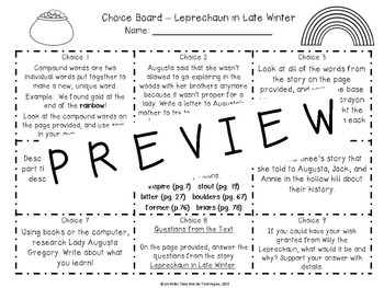 Leprechaun in Late Winter Reading and Writing Response Choice Board