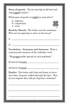 Leprechaun in Late Winter : Magic Tree House #43 Novel Study / Comprehension