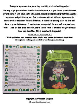 Leprechaun in a jar writing and craft activity.