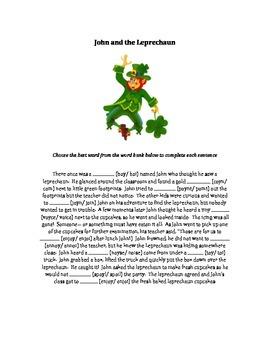 Leprechaun oi/oy Worksheet