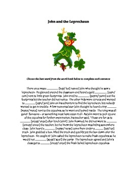 Leprechaun oi/oy Worksheet