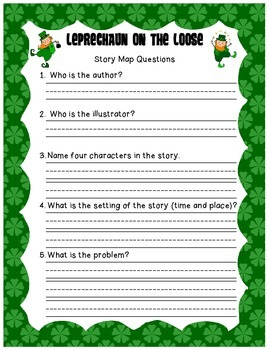 Free St. Patrick's Story Map (Leprechaun on the Loose Ques
