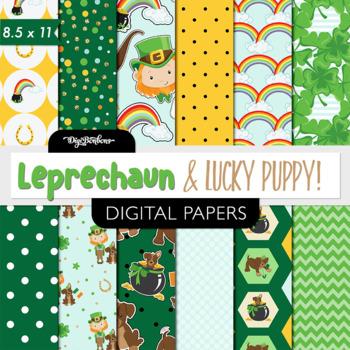Leprechaun printable digital paper-USL 8.5 x 11 - st patrick's day paper,clipart