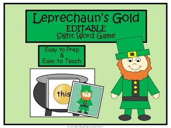 St. Patrick's Day EDITABLE Sight Word Game - Leprechaun's Gold