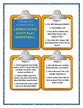 Bailey School Kids LEPRECHAUNS DON'T PLAY BASKETBALL - Discussion Cards