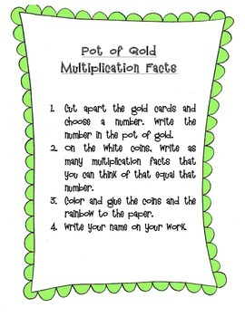 Leprechaun's Gold Math Facts Craftivity