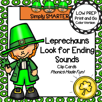 Leprechauns Look for Ending Sounds:  LOW PREP Clip Cards