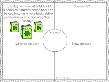 Leprechauns One Step Word Problems within 100!
