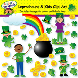 Leprechauns and Kids Clip Art