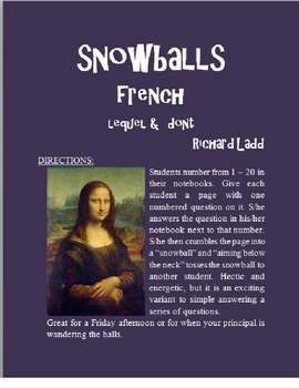 Lequel and Dont Relative Pronouns Snowballs FRENCH