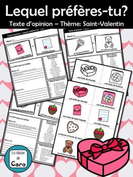 Lequel préfères-tu? Texte d'opinion – Thème: Saint-Valentin