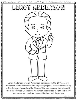 Leroy Anderson, Famous Composer Informational Text Coloring Page Craft