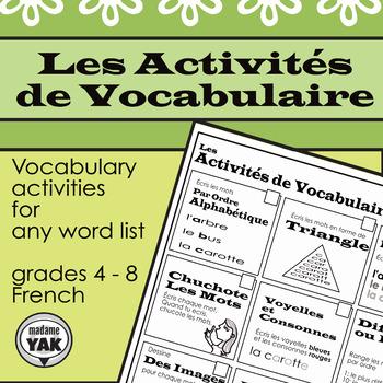 Les Activités de Vocabulaire / Vocabulary Activities for any Wordlist
