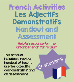 Les Adjectifs Demonstratifs French Grammar Activity Grammaire Core French