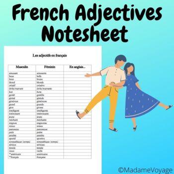 Les Adjectifs/French adjective notesheet (Bien Dit 1 Chapitre 3)