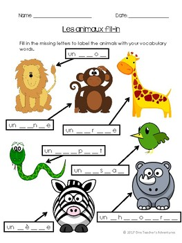 Les Animaux - French Animals Vocabulary Activities and Quiz (Gr 4-7)