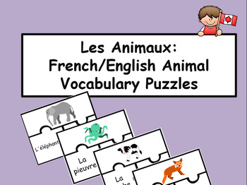 Les Animaux - French/English Vocabulary Puzzles