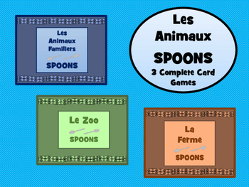 Les Animaux - Spoons Card Games Bundle- 3 Complete Games in French