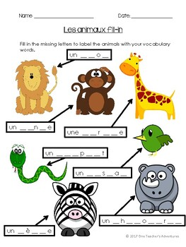 Les Animaux Unit - Beginner French Animals Unit for Grades 4-7