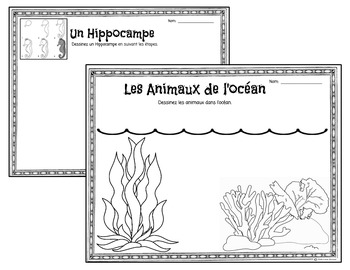 Les Animaux de l'Ocean-Activities and Coloring Pages-FSL and French Immersion